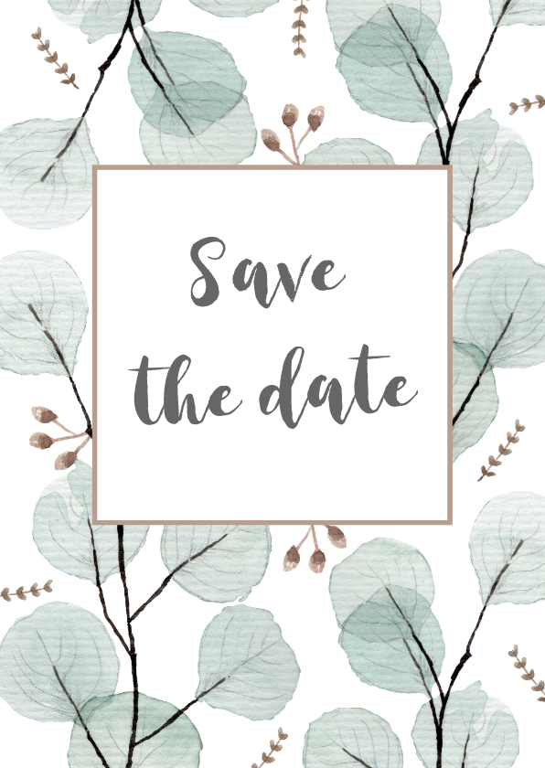 Trouwkaarten - Save the date/trouwkaart eucalyptus