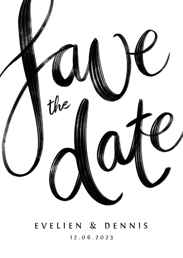 Trouwkaarten - Save the date trouwkaart kalligrafie zwart wit