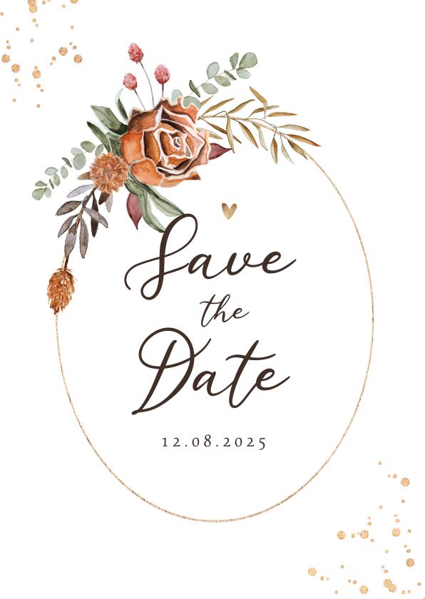 Trouwkaarten - Save the date trouwkaart stijlvol droogbloemen waterverf