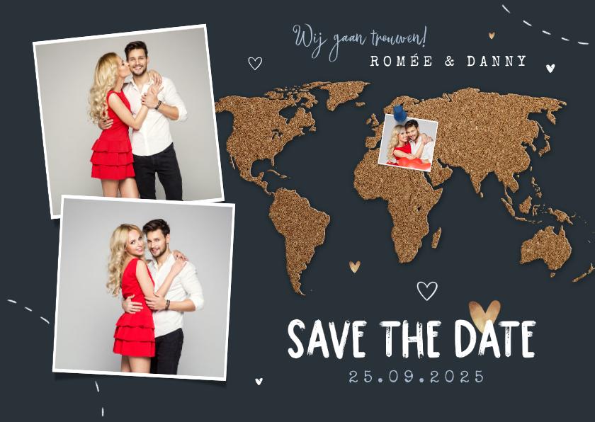 Trouwkaarten - Save the date trouwkaart wereld kurk punaise foto's