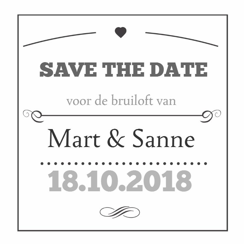 Trouwkaarten - Save the date typo