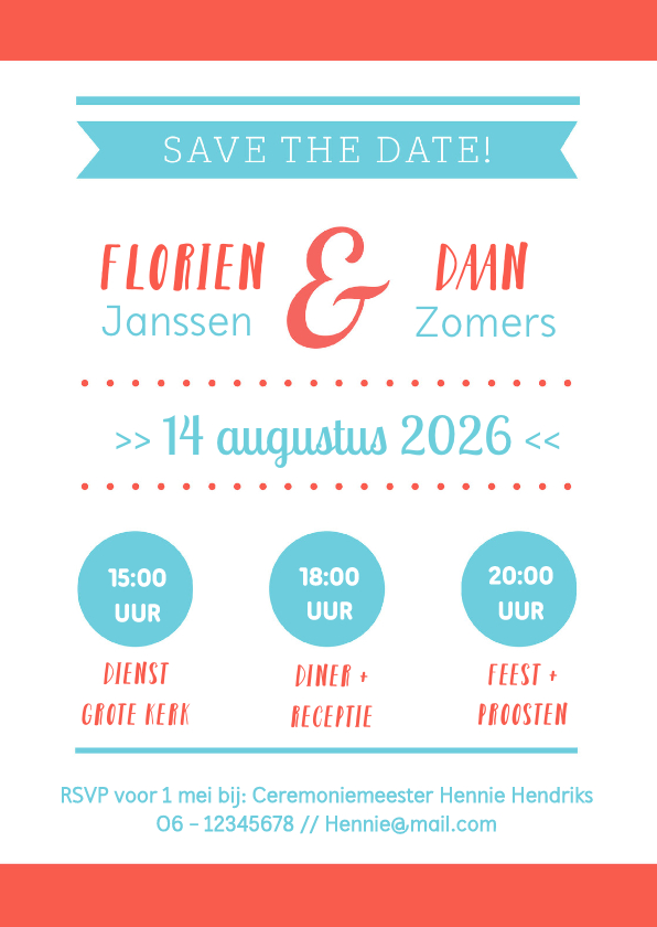 Trouwkaarten - Save the Date typografisch - DH