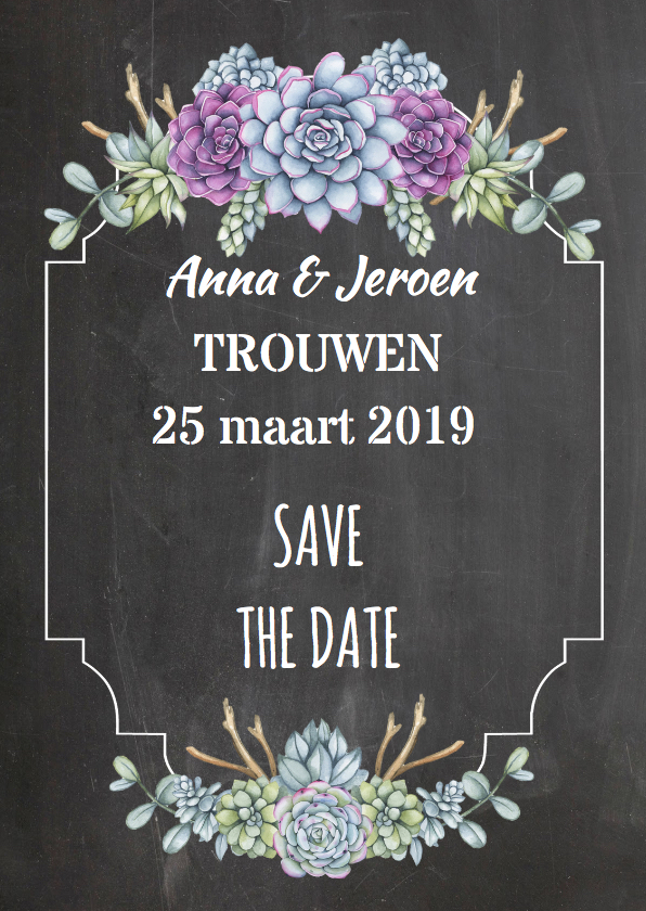 Trouwkaarten - Save The Date vetplant