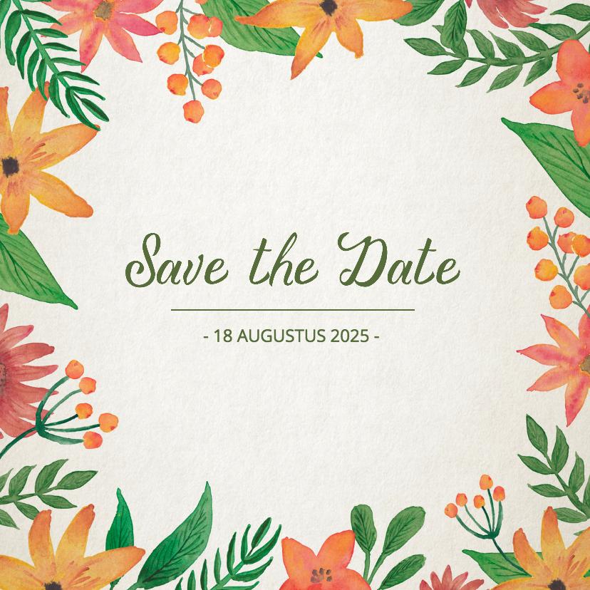 Trouwkaarten - Save the Date Vintage Bloemen