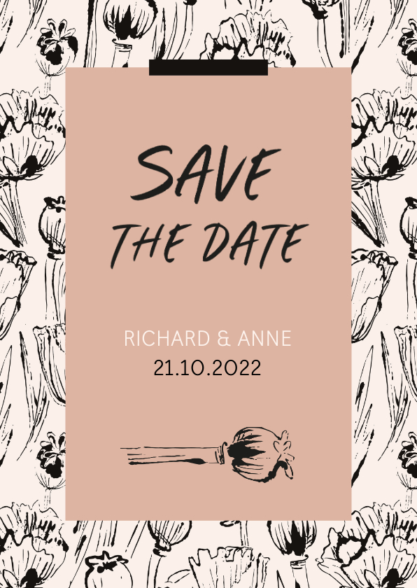 Trouwkaarten - Save the date vintage klaprozen
