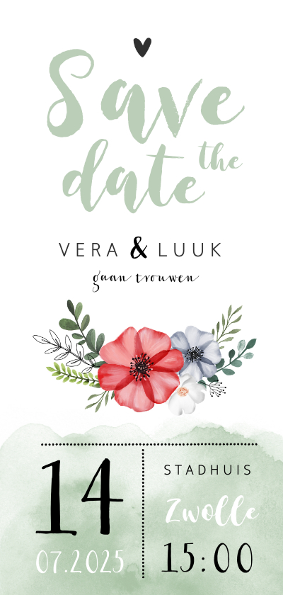 Trouwkaarten - Save the date waterverf bloemen stijlvol foto groen hartje