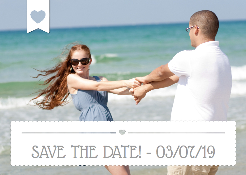 Trouwkaarten - Save the date Wit Vlak