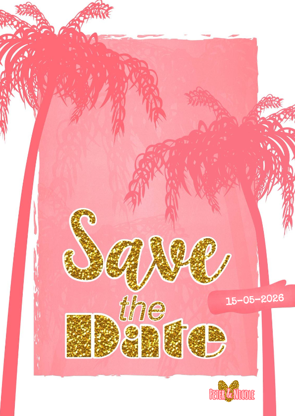 Trouwkaarten - Save the date zomers goud palm S