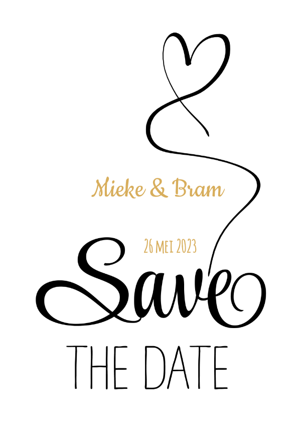 Trouwkaarten - Save the Date zwart wit hart SG