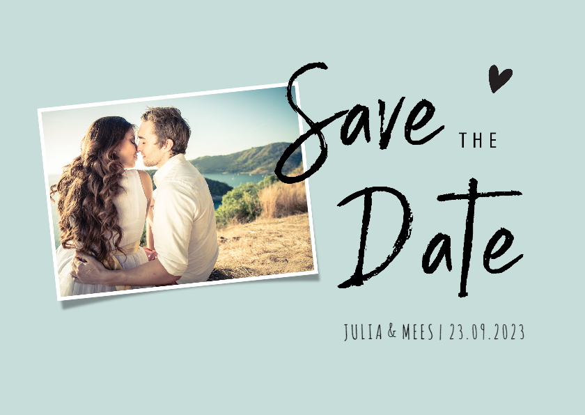 Trouwkaarten - Save the datekaart met foto en trendy letterype