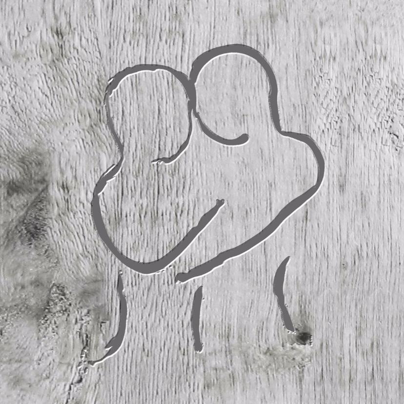 Trouwkaarten - Stel gekerfd in hout  liefde- trouwkaart