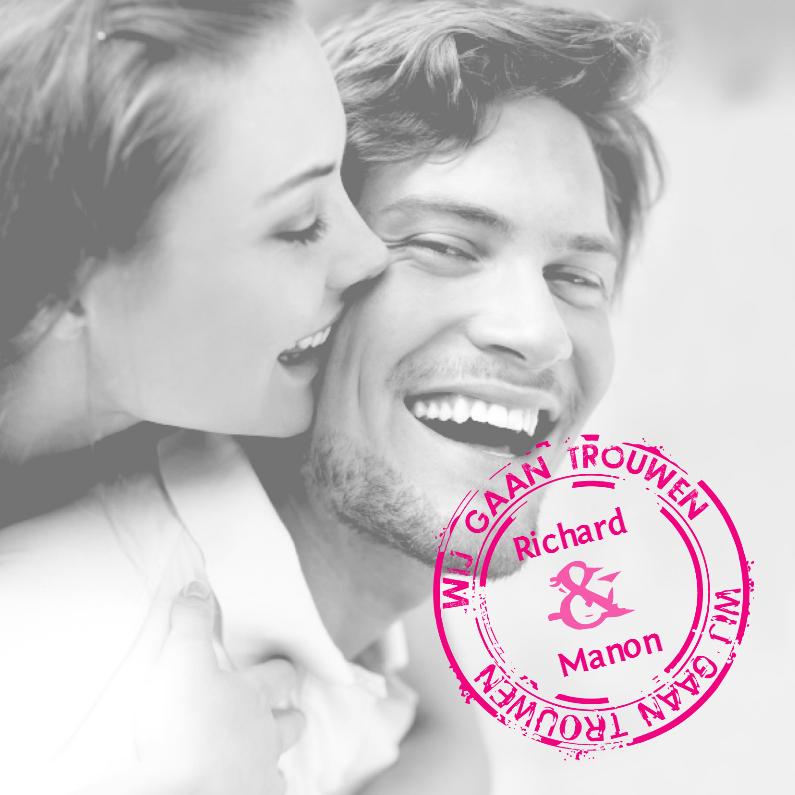 Trouwkaarten - Stempel foto trouwkaart