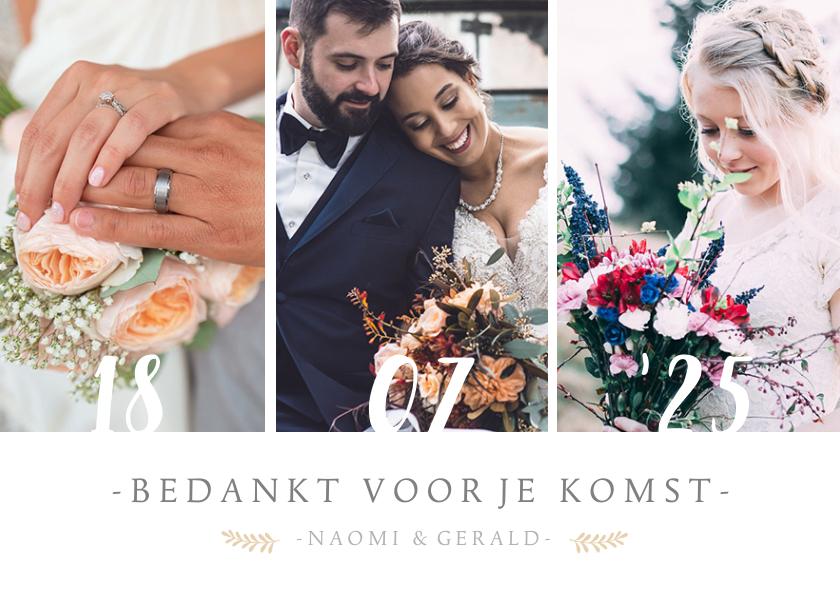 Trouwkaarten - Stijlvol bedankkaartje voor jullie huwelijksdag met 3 foto's