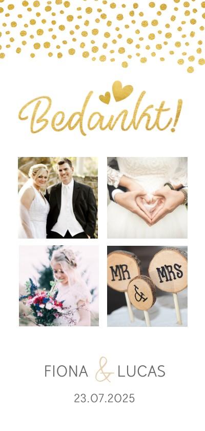 Trouwkaarten - Stijlvol langwerpig bedankkaartje voor een huwelijk