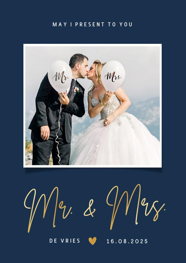 Trouwkaarten - Stijlvolle bedankkaart trouwdag Mr & Mrs met eigen foto