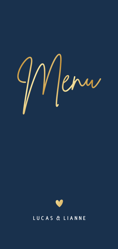 Trouwkaarten - Stijlvolle blauwe langwerpige dubbele menukaart trouwen