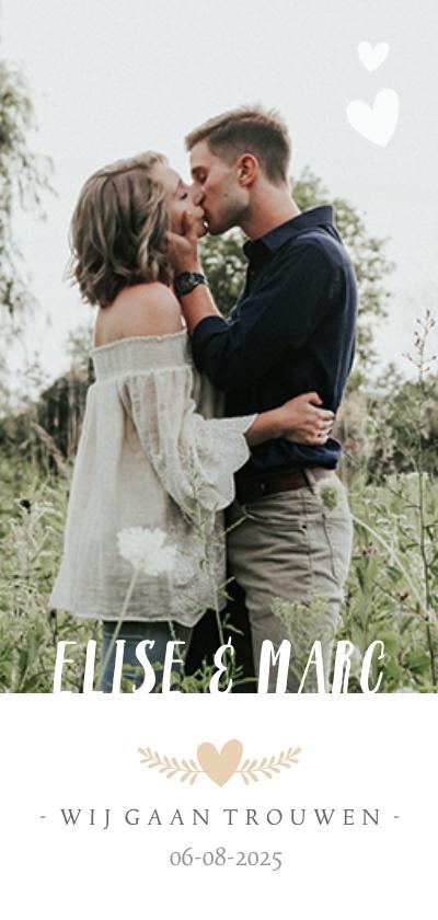 Trouwkaarten - Stijlvolle langwerpige trouwkaart met eigen foto en namen