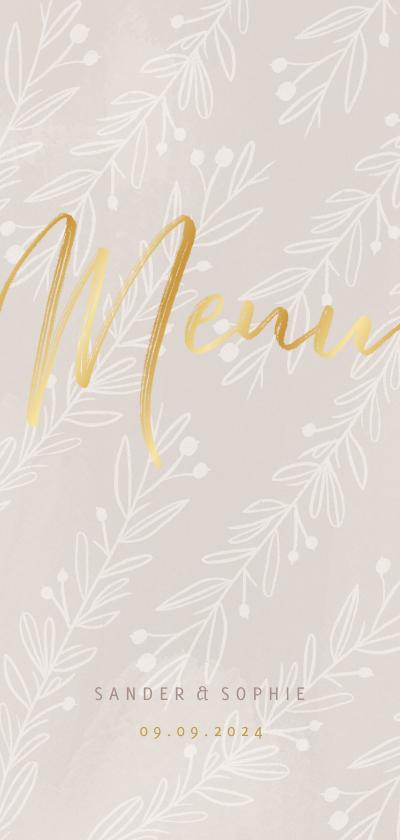 Trouwkaarten - Stijlvolle menukaart gouden tekst naturel takjes