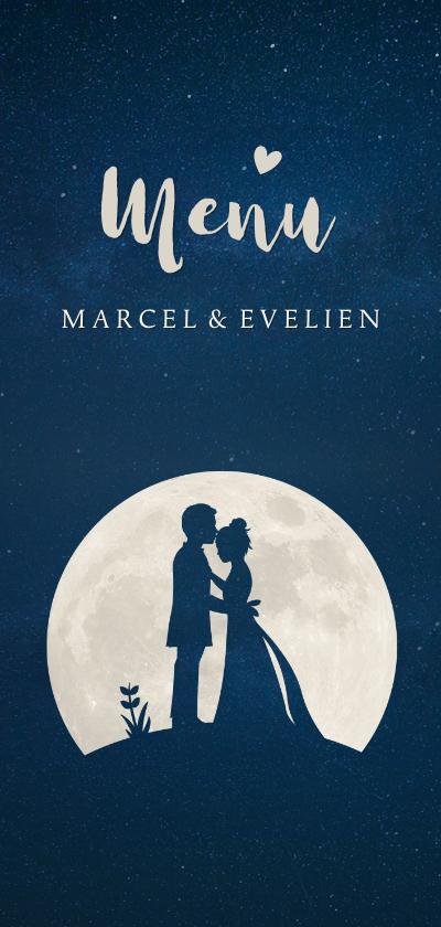 Trouwkaarten - Stijlvolle menukaart huwelijk trouwen met silhouet in maan