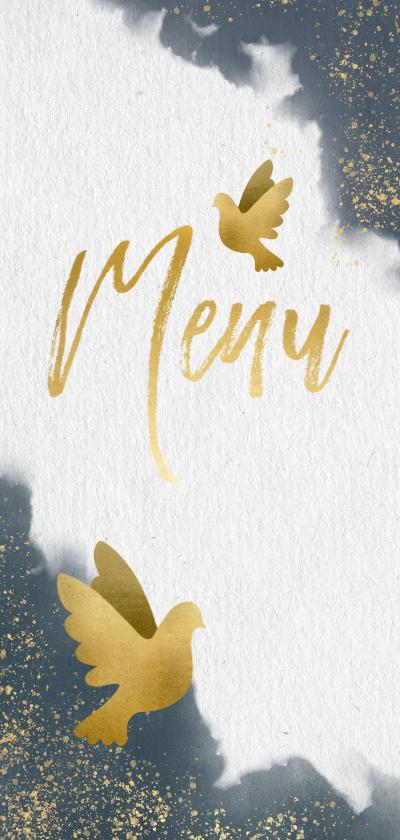 Trouwkaarten - Stijlvolle menukaart met blauwe waterverf en gouden duiven