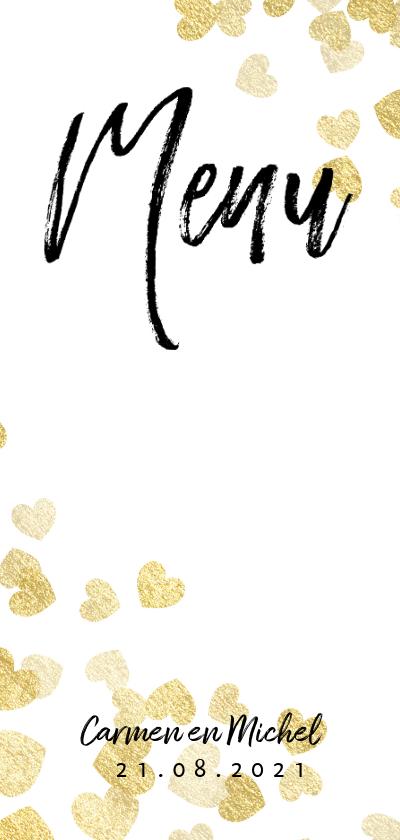 Trouwkaarten - Stijlvolle menukaart met gouden hartjes en typografie