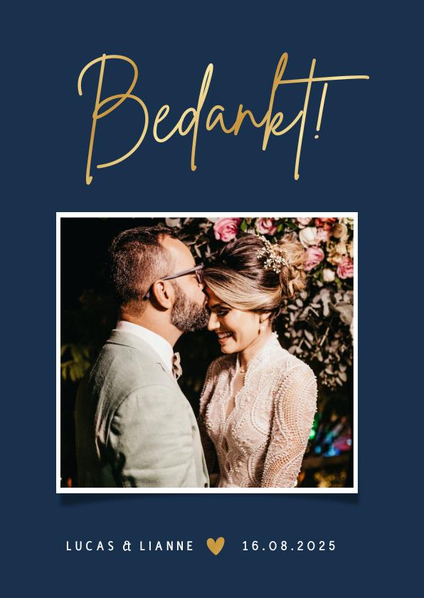 Trouwkaarten - Stijlvolle minimalistische bedankkaart trouwen met foto