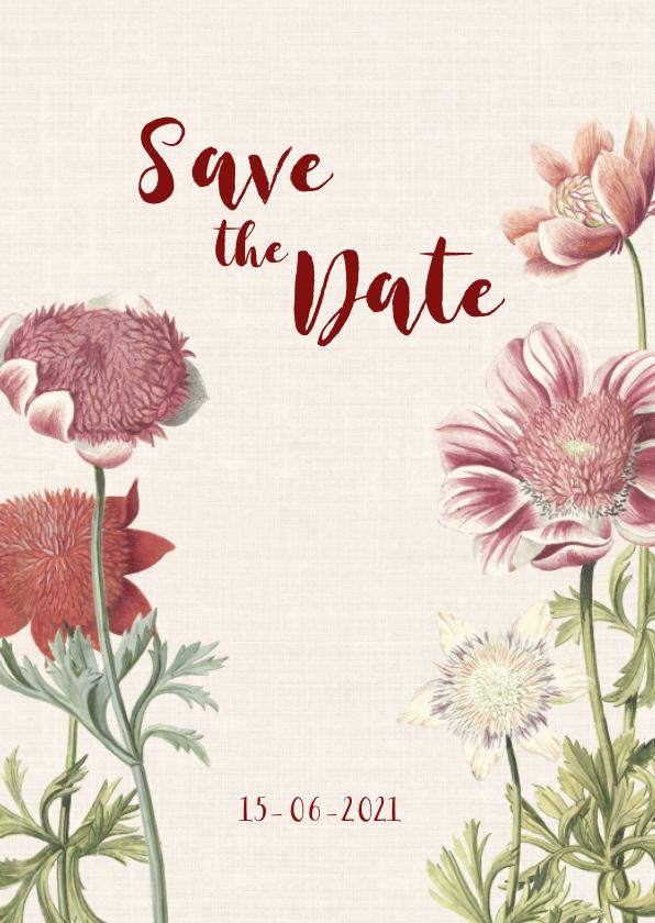 Trouwkaarten - Stijlvolle Save the Date kaart met anemonen