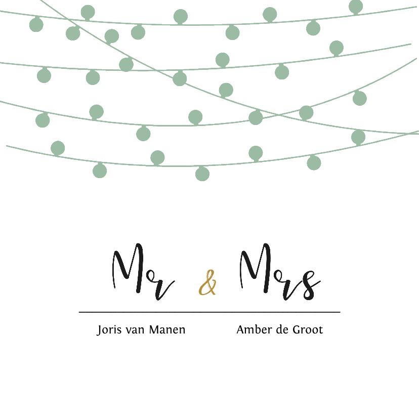 Trouwkaarten - Stijlvolle trouwkaart met lampjes slingers in eigen kleuren