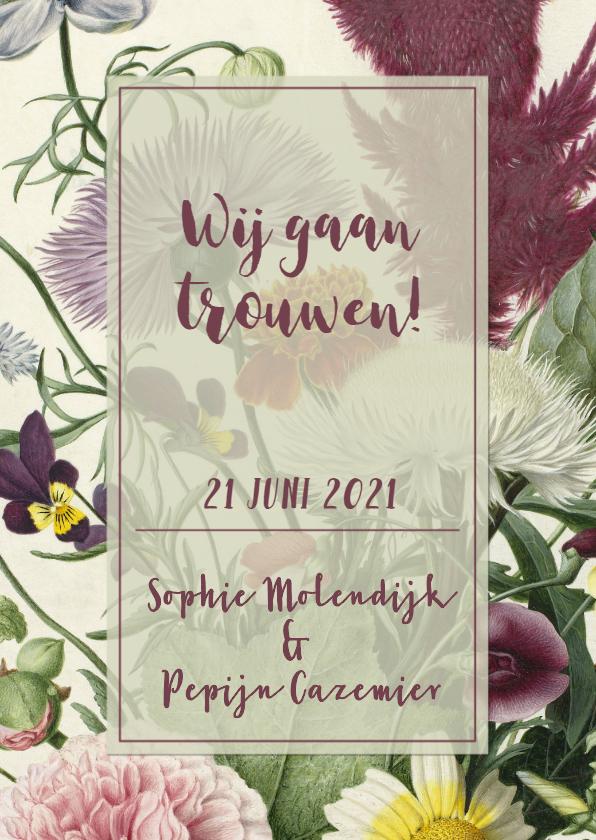 Trouwkaarten - Stijlvolle trouwkaart met vintage bloemen.