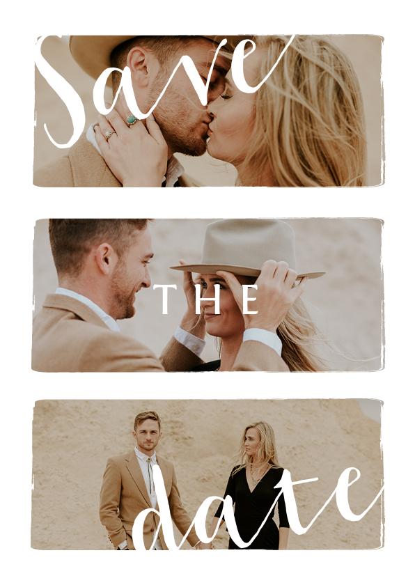 Trouwkaarten - Stijlvolle trouwkaart save the date met fotocollage