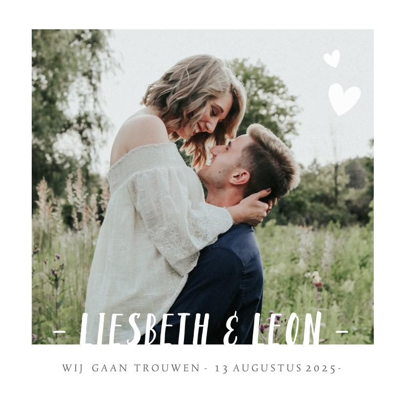 Trouwkaarten - Stijlvolle trouwkaart wit met grote eigen foto en namen