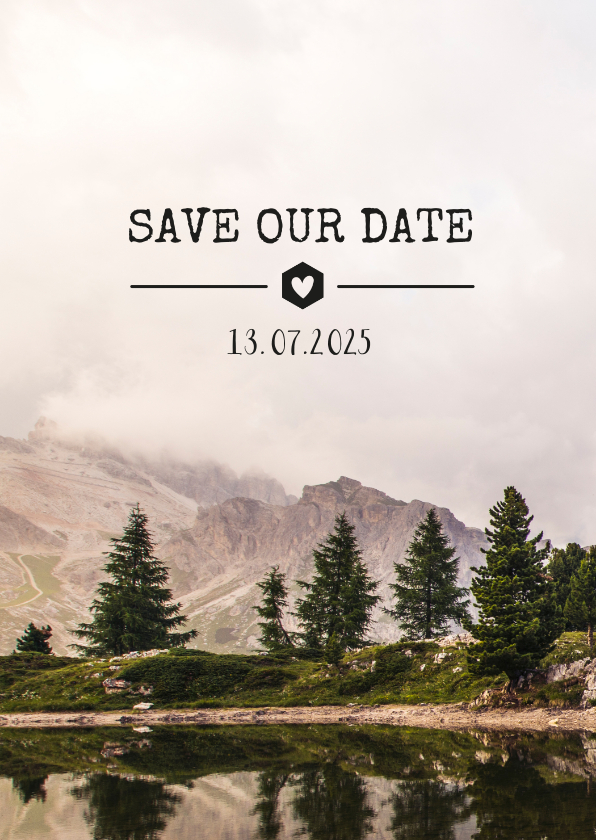 Trouwkaarten - Stoere Save the Date kaart met een berg landschap en datum