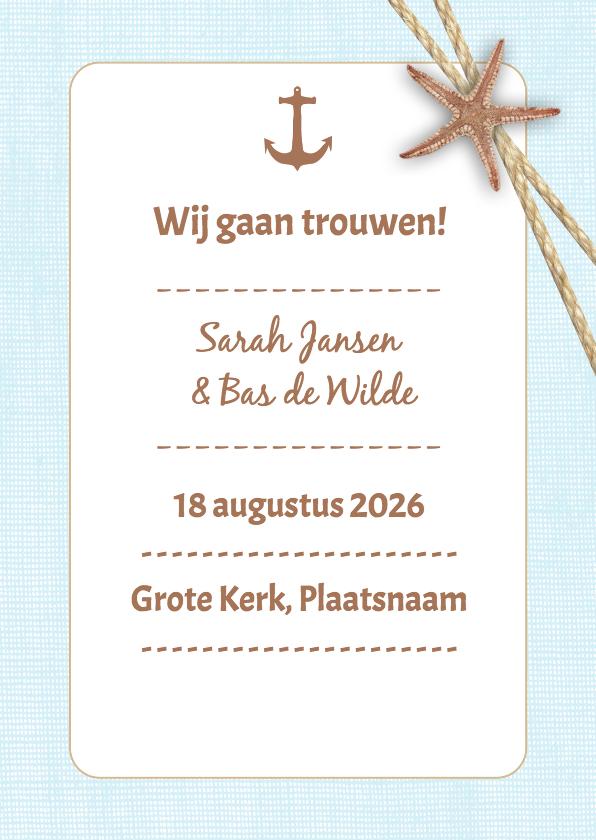 Trouwkaarten - Strandsfeer trouwen blauw - DH
