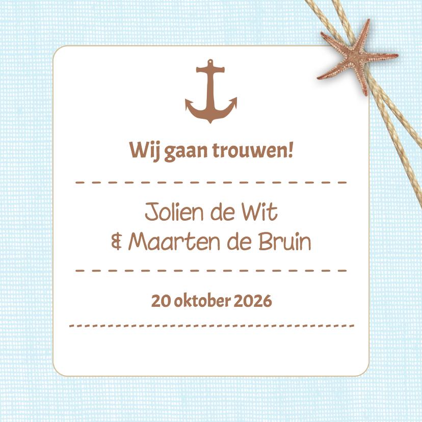 Trouwkaarten - Strandsfeer uitnodiging - DH
