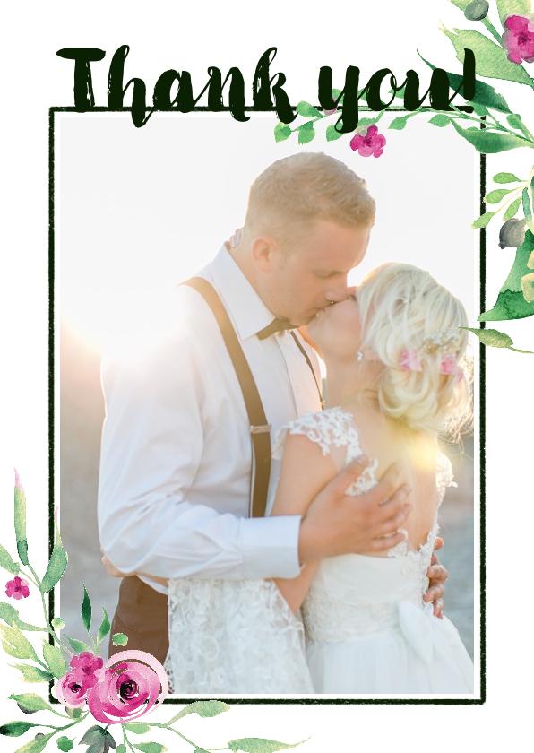 Trouwkaarten - Thank you! Trouwkaart Stijlvol wit met bloemen