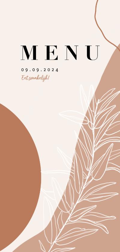 Trouwkaarten - Trendy menukaart bruiloft abstracte vormen aardetinten