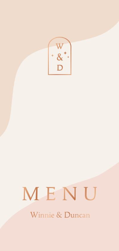 Trouwkaarten - Trendy menukaart in roze aardetinten met boog
