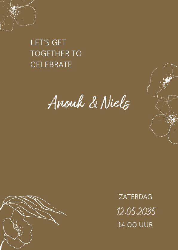 Trouwkaarten - Trendy trouwkaart met getekende bloemen