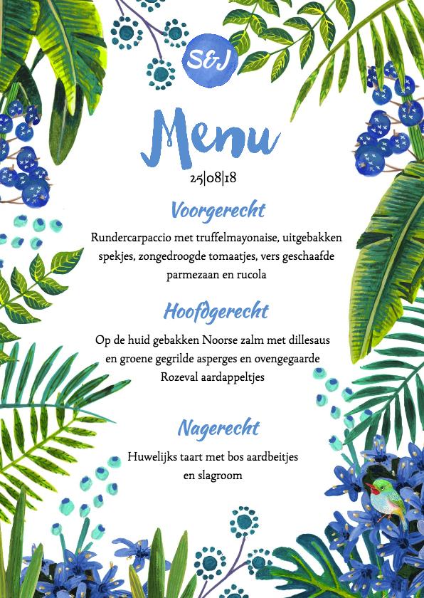 Trouwkaarten - Tropical Menukaart enkel