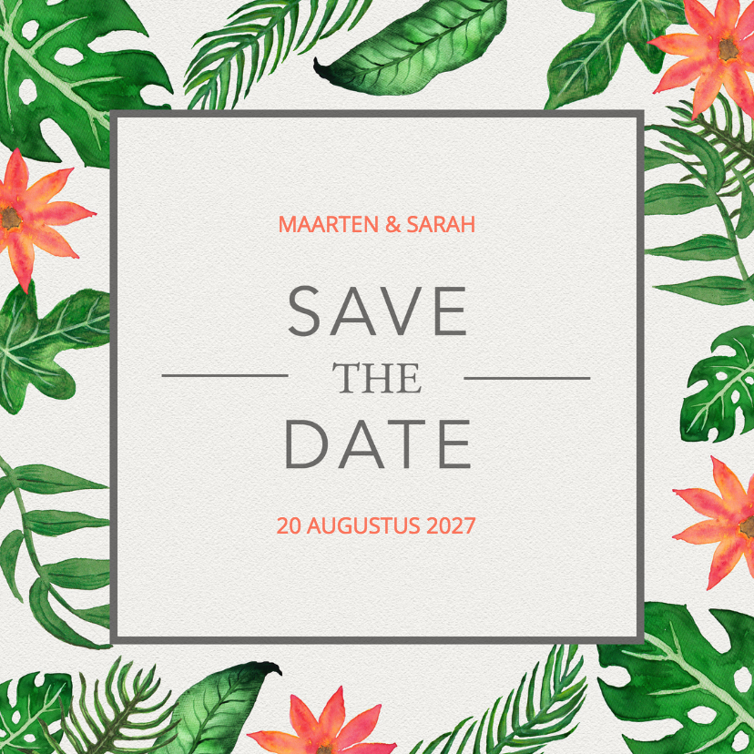 Trouwkaarten - Tropical Save the Date - DH