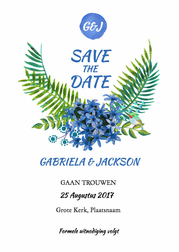 Trouwkaarten - Tropische Strand Save the Date