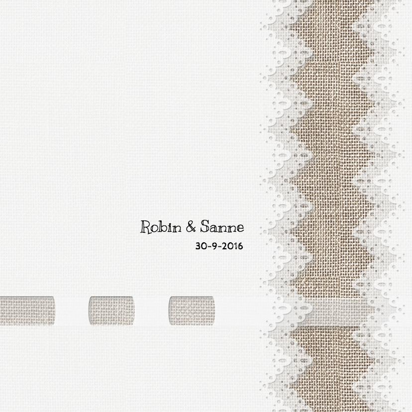 Trouwkaarten - Trouw met linnen en kant