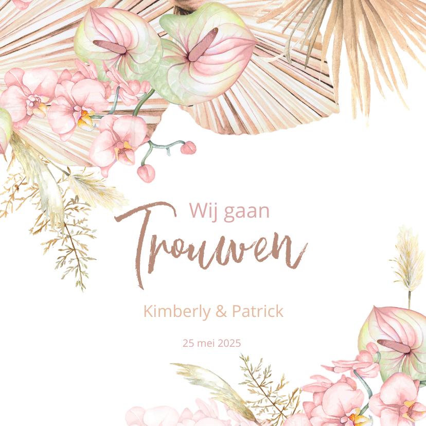 Trouwkaarten - Trouwen droogbloemen orchidee