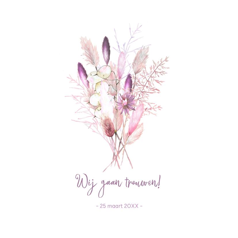 Trouwkaarten - Trouwen droogbloemen paars