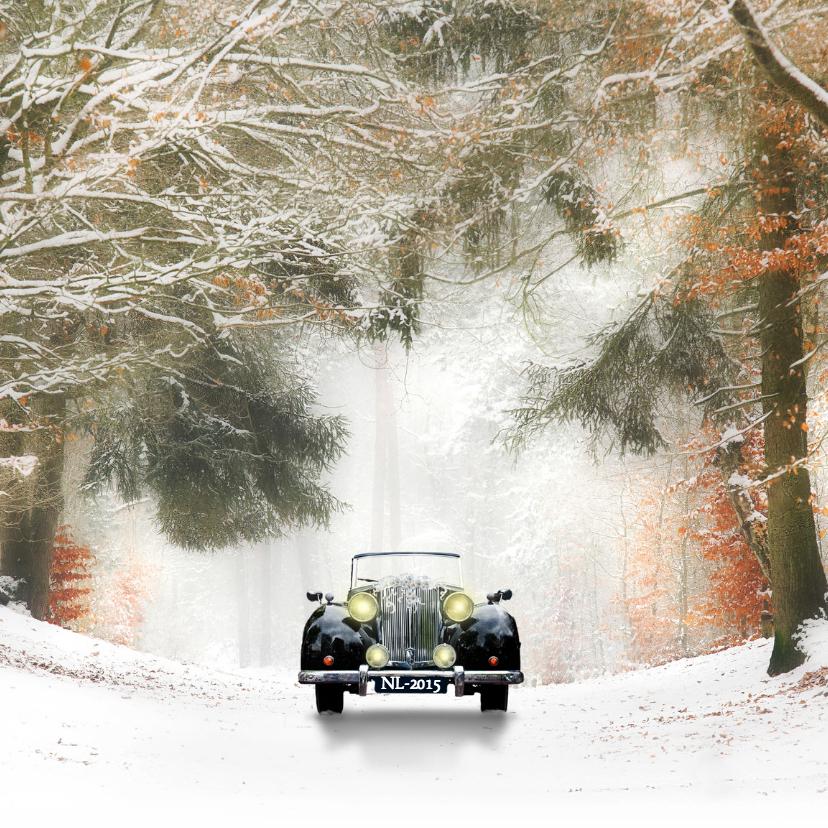 Trouwkaarten - Trouwen met zwarte oldtimer -sneeuw-
