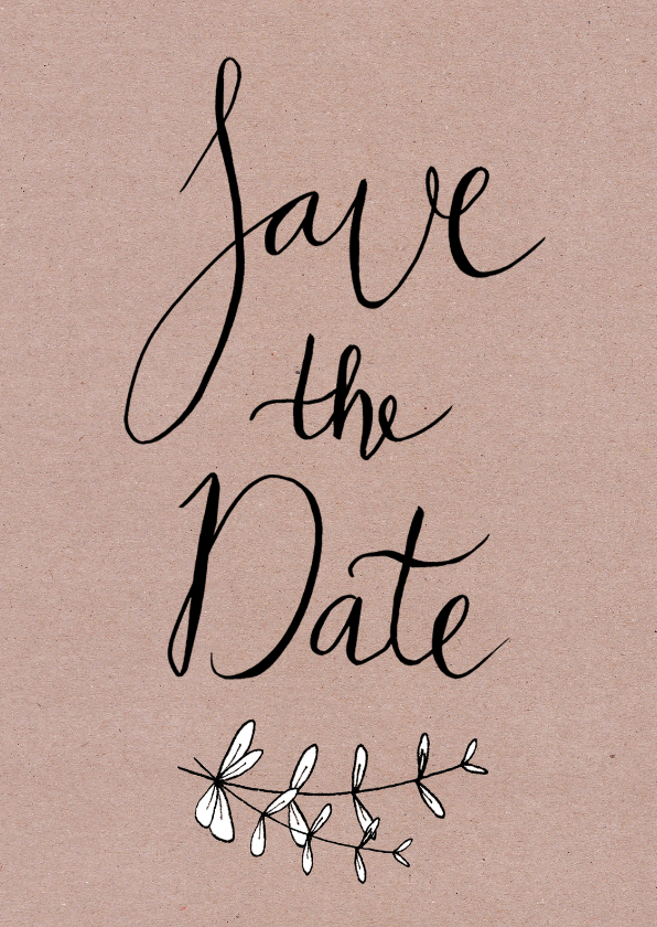 Trouwkaarten - Trouwen save the date kraftprint - HR