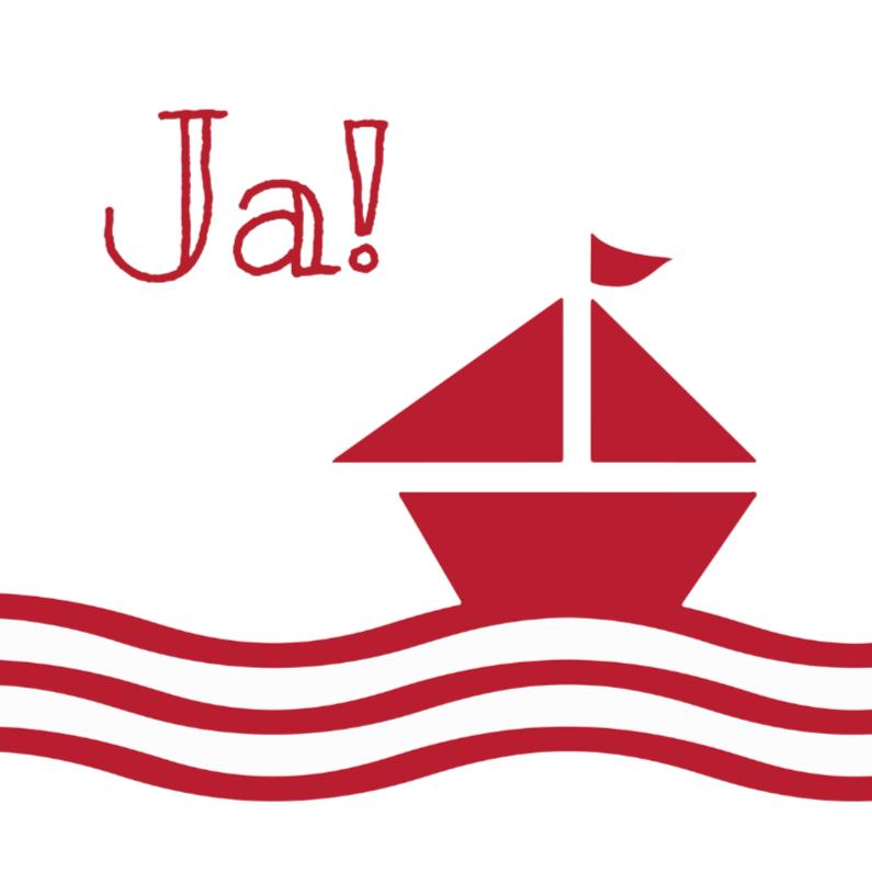 Trouwkaarten - trouwen zeilboot rood