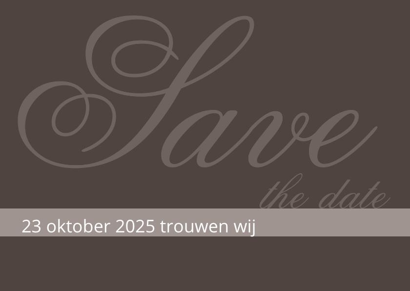Trouwkaarten - Trouwkaart Antraciet Save the date
