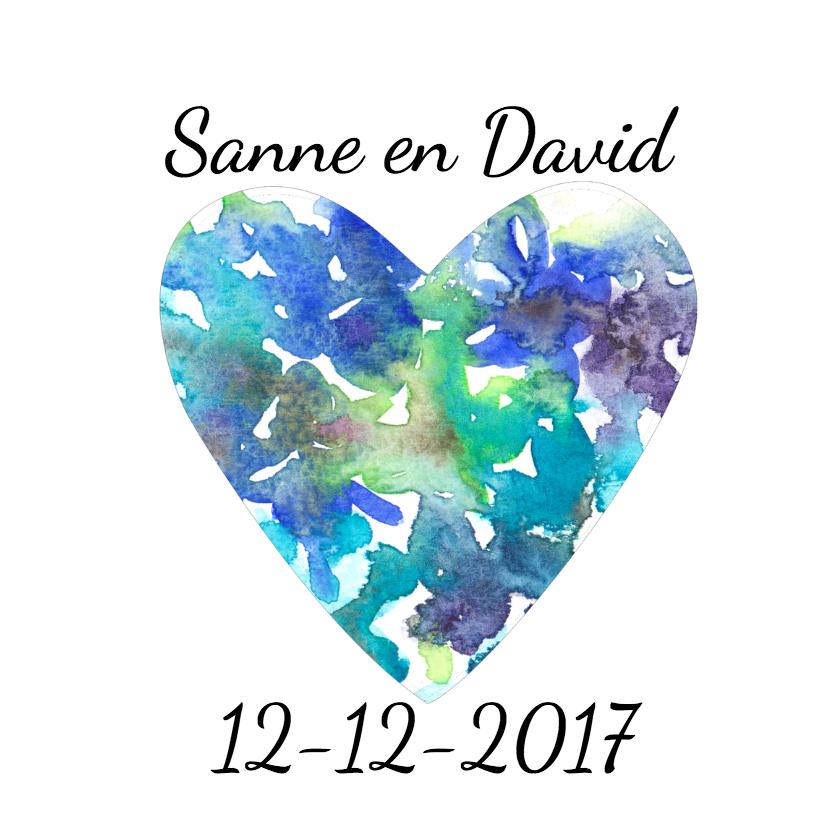 Trouwkaarten - Trouwkaart aquarel blauw hart