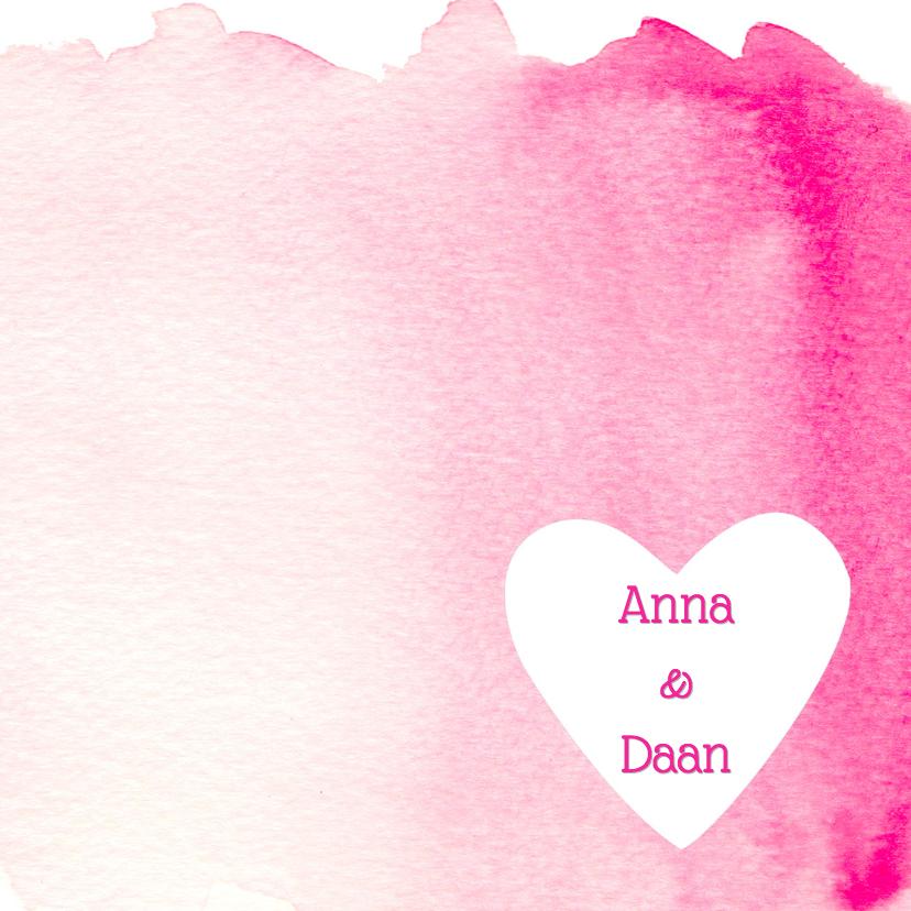 Trouwkaarten - Trouwkaart aquarel roze hart